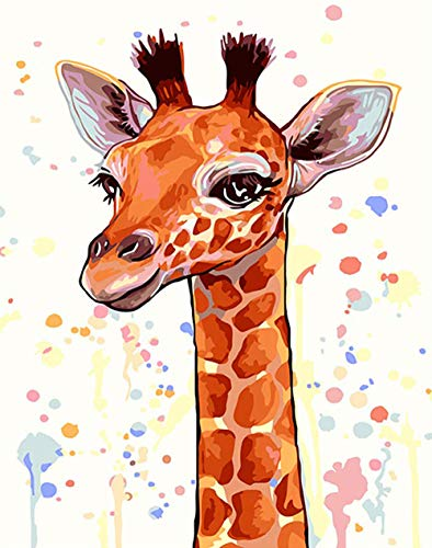 KZIK Paintworks Paint by Number Kits DIY Oil Painting for Adults Beginner Drawing on Canvas with Brushes and Acrylic Pigment - Brown Giraffe 16x20 Inch