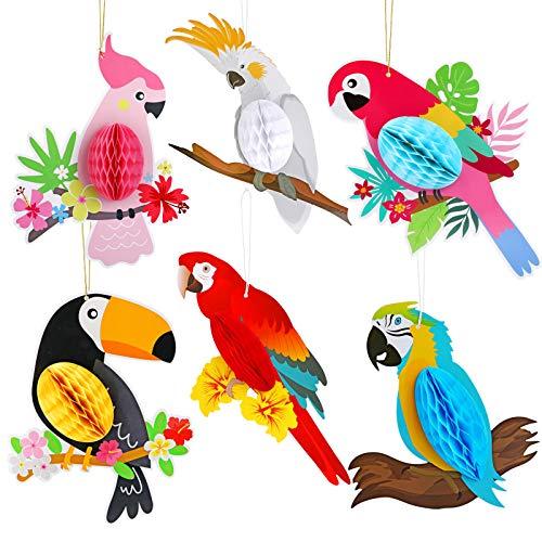 HOWAF 6 Piezas pájaros Tropicales Panal Loro Hawaiano Verano Playa Tiki Bar Luau Fiesta Decoraciones Colgantes Suministros
