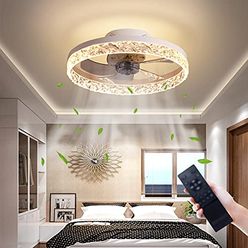 Ventilador de techo con iluminación y mando a distancia, 30 W, ventilador de techo LED moderno, 3 velocidades de viento ajustables, lámpara de techo regulable, función de temporización (color blanco)