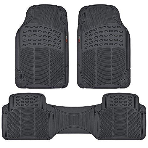 Motor Trend FlexTough Rubber Floor Mats for Car & SUV - 100% Odorless & All Weather Heavy Duty (Black)