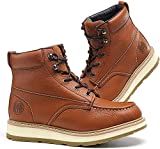 HANDROCK Work Boots for Men, 6' Composite/Soft Toe Mens Work Boots, Non-Slip Puncture-Proof Water Resistant Safety EH Moc Toe Construction Work Shoes