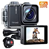 APEMAN Action Cam A100S, Echte 4K 50fps WiFi 20MP Touchscreen Unterwasserkamera Digitale wasserdichte 40M Helmkamera (2.4G Fernbedienun, 2x1350mAh verbesserten Batterien)