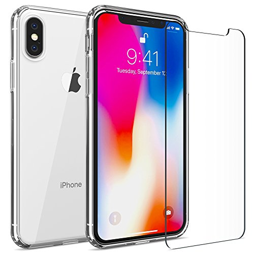 FlexGear Clear Case for iPhone X XS and 2 Glass Screen Protectors (Clear)