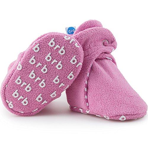 Botines de forro polar para bebé – algodón orgánico y parte inferior de agarre, acogedoras botines para niños y niñas, Algodón de azúcar, 7