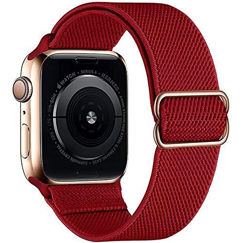 Sport Solo Loop Band Compatible con Apple Watch Correa 44mm 42mm 38mm 40mm, elástico ajustable trenzado suave Correa de reemplazo de nylon para la serie iWatch 6/5/4/3/2/1 SE