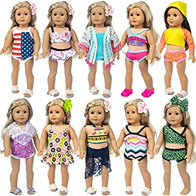 ZITA ELEMENT Fashion 10 Sets American 18 Inch Girl Doll Swimsuits Bikini Swimwear for 18 Inch Doll Swimsuits Summer Barthing Clothes Outfits