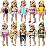 ZITA ELEMENT 10 PCS = 10 Strand Badeanzug für amerikanische 18-Zoll-Mädchenpuppe, Generation Doll, Bitty Babypuppe-Weihnachtsgeburtstagsgeschenk für Kinder