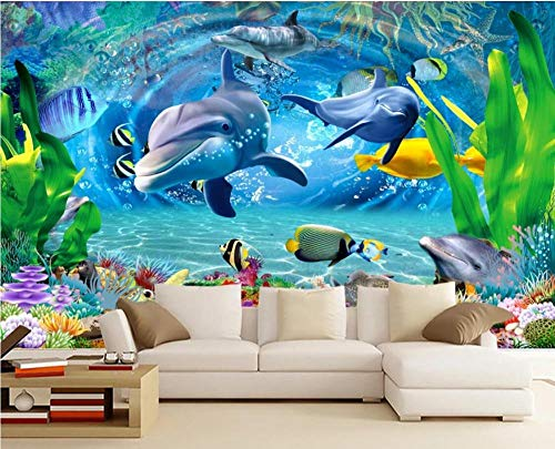 Wall Mural Wallpaper 3D Dolphin Dream Underwater World Seagrass Fish Living Room Bedroom Tv Background Wallpapers Decoration Art 300cm×210cm