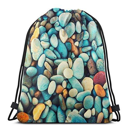 asdew987 Mochila con cordón y piedras coloridas para mujer, ligera, para senderismo, con cuerdas, para almacenamiento