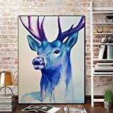 N / A Watercolor Blue Deer Canvas Painting Modern Animal Poster and Photo Living Room Decoration Painting Wall Picture Frameless 24x30 cm