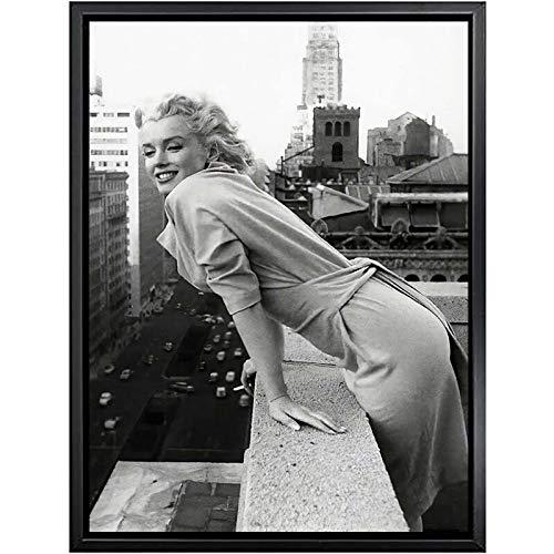 WIOIW Sexy Fashion Queen Marilyn Monroe Negro Blanco Foto HD Actriz de Hollywood Estrella de Cine Lienzo Pintura Arte de la Pared Póster Fans Dormitorio Sala de Estar Estudio Decoración para el hogar