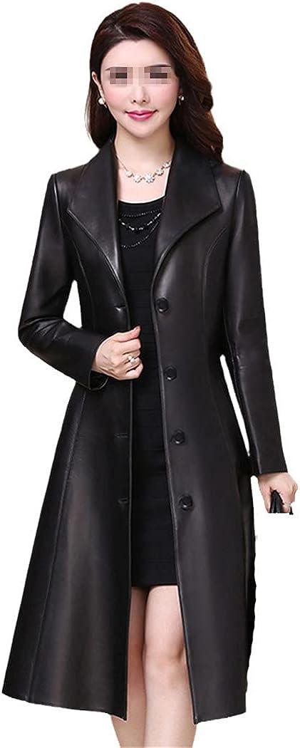 RFXZSAQD Spring Autumn Long Black Faux Leather Coat, Women Long Sleeve Buttons Slim Fit Leather Jacket