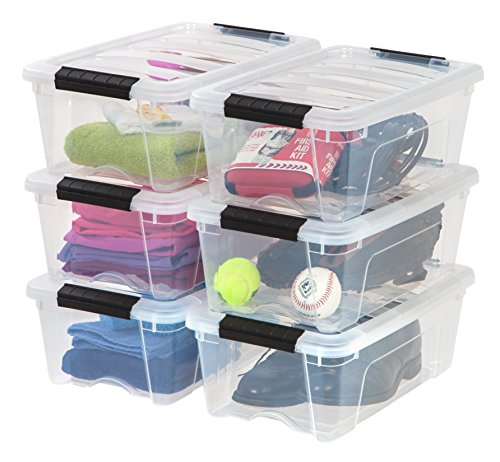 IRIS USA TB Clear Plastic Storage Bin Tote Organizing Container with Durable Lid and Secure Latching Buckles, 12 Qt, 6 Count