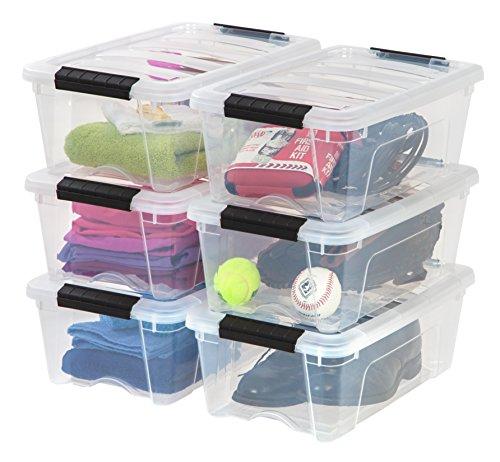 IRIS USA TB-42 Stack & Pull Storage Box, 12 Qt, Clear, 6 Count