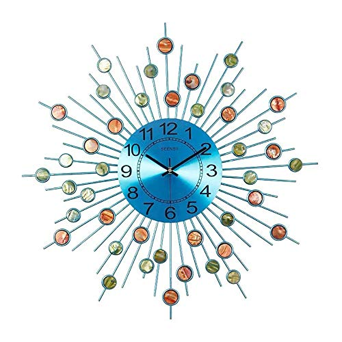 YJ Home Sunburst Wanduhren – 24,5 Zoll Infinity Instruments Satellitenuhr, Mitte Jahrhundert, Moderne Stern-Wanduhr, Tiefsee-Muscheln Dekoration auf der Uhr