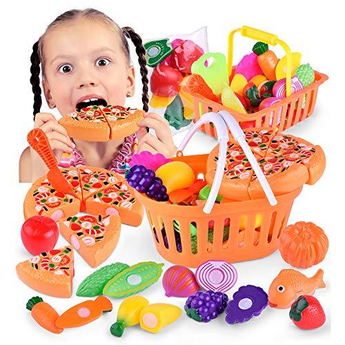 W.KING 53 Stück Spielen Lebensmittel für Kinder Küche, Spiele Küchenzubehör, Pretend Cutting Lebensmittel Spielzeug mit Einkaufswagen für Kinder Geburtstags-Geschenke
