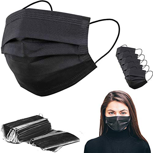 Hannah Linen Black Face Masks - Diposable - 50 Pieces Set- Non-Woven Dust Mask with Earloop for Personal Care - Fast Ship from USA (Pack of 50, Black)