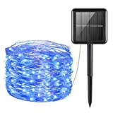AMIR Solar Powered String Lights, Mini 100 LED Copper Wire Lights, Fairy Lights, Indoor Outdoor Waterproof Solar Decoration Lights for Gardens, Home, Dancing, Party, Christmas (Blue)