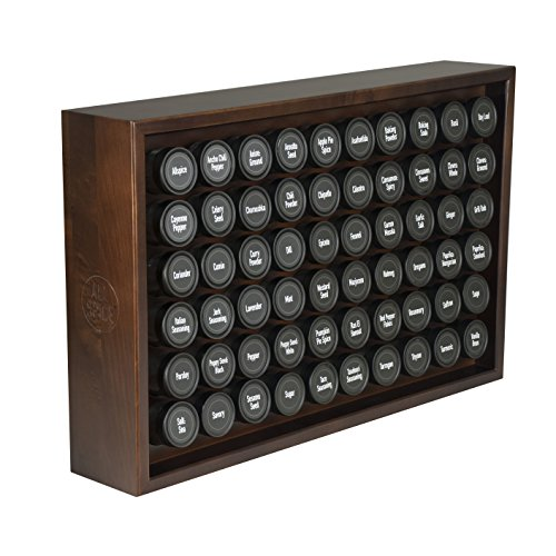 AllSpice Wood Spice Rack Includes 60 4oz Jars Walnut