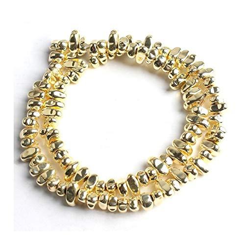 WEIGENG 3-10 mm piedra natural hematita irregular grava espaciador de cuentas sueltas collar de 3 cm (color: oro)