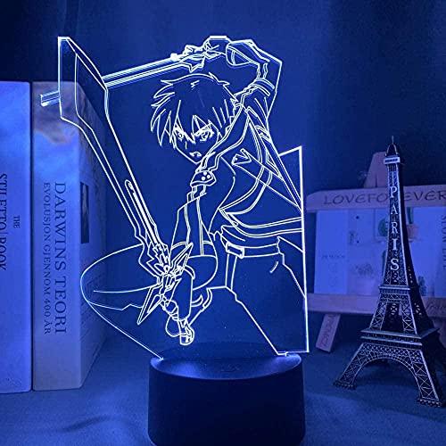 3D LED noche luz anime espada arte en línea Kirito figura para dormitorio interior noche luz para día presente regalo habitación led noche manga Sao 16 colores