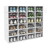 HOMIDEC Schuhkarton mit Tür, Stapelbarer Schuhaufbewahrungsbox, Tragbar Schuh Organizer, Zusammenklappbar Schuhboxen für Frauen Männer (24er Set)
