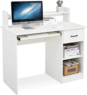 Meerveil - Bureau Informatique - Bureau avec Rangement avec Support de Moniteur et Support de Clavier, 104x48x96cm avec Ti...