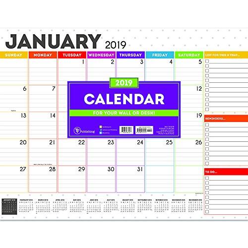 2019 Rainbow Dots Desk Pad Blotter 22x17 Calendar