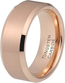 4mm 6mm 8mm Silver/Black/White/Gunmetal/18K Gold/Rose Gold Tungsten Rings for Men Women Wedding Bands Matte Finish Beveled Edges Comfort Fit