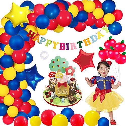 MMTX Verjaardag Decoratie Ballonnen Meisjes, Prinses Verjaardag Slinger Gelukkige Verjaardag Banner Ster Folies Ballon Paddestoel Bos Taart Toppers voor Babyshower Kinderen Baby Meisjes Feestdecoraties