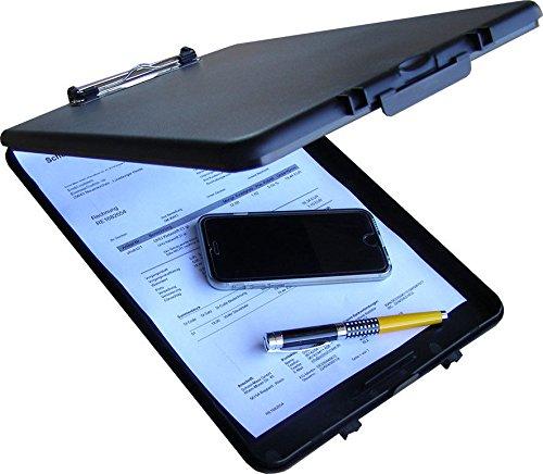 Klemmbrett für DIN A4 mit Aufbewahrungsbox Farbe: Schwarz