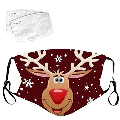 Lulupi Mundschutz Weihnachtsmaske 3D Weihnachten Waschbar Maske Baumwolle Stoff Mund-Nasenschutz mit Filter Atmungsaktiv Stoffmaske Alltagsmaske...