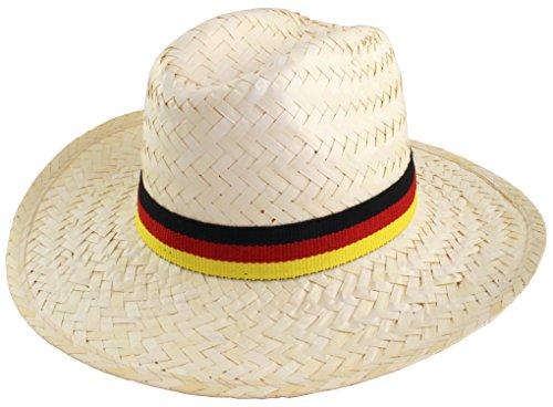 JES Collection strohoed palmblad Duitsland fan Ø 35 cm met hoedenband in de kleuren zwart, rood, goud voor de voetbal WK Party 2018 in Rusland