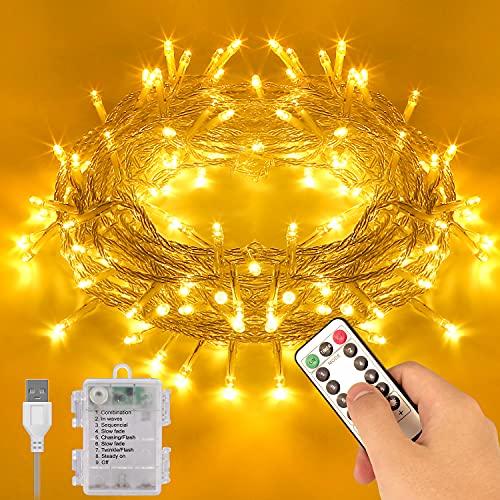 Guirnalda Luces Pilas, 12M 120LED USB Luces de Navidad Exterior Impermeable, 8 Modos Cadena de Luz con Control Remoto y Temporizador, para Exterior y Interior, Navidad, Jardín, Blanco Cálido