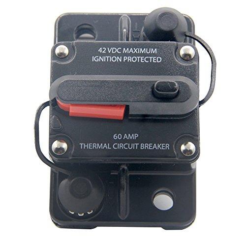 RKURCK 12V/24V/42V DC 60 Amp Circuit Breaker for Trolling Motor Auto Car Marine Boat Bike Stereo Audio Terminal Inline Fuse Inverter Manual Reset 60A