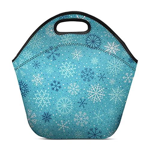 Hirola Bolsa de almuerzo portátil de neopreno a prueba de fugas y copos de nieve en colores azul y blanco para fondos de invierno y Navidad, bolsa de almuerzo aislada para adultos, niños, adolescentes