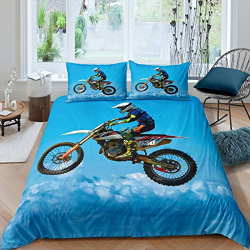 Loussiesd 3D Motocross Racer Duvet Cover Set Dirt Bike Extreme Sports Bedding Set for Kids Boys Men Racing Motorcycle Comforter Cover Blue Sky Quilt Cover Bedroom Collection 2Pcs Single Size