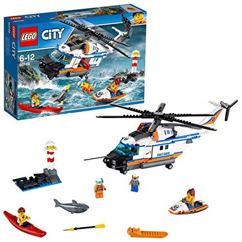 LEGO City - Guardacostas: Helicóptero de Rescate, Set de Construcción de Aventuras Marítimas, Incluye PirAgua, Moto de Agua y un Tiburón de Juguete (60166)