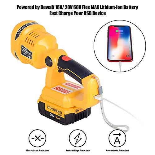 LED Work Light for Dewalt 20V 60V Flex MAX Lithium-ion Battery Spotlight Flashlight with USB Port and Pivoting Head - TOOL BARE