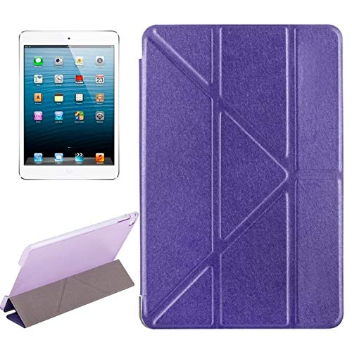 Leather Case Transformers Style Silk Texture Horizontal Flip Solid Color Leather Case with Holder for IPad Mini 2019 Movoo (Color : Purple)
