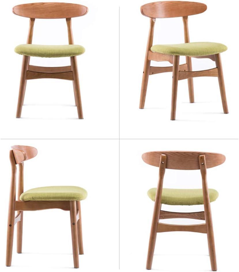 ZFF Chaise de salle à manger en bois massif Nordic Homeware Dossier Lounge Chair Coton et lin Coussin de lavage amovible pour salon, chambre à coucher, café (Color : Green) Green