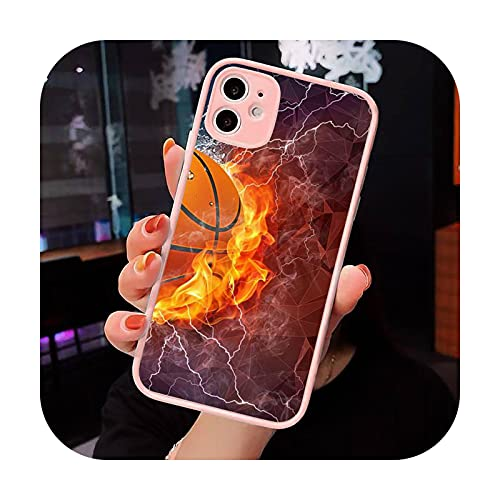 Baloncesto llama fuego Color teléfono caso mate transparente para iPhone 7 8 11 12 s Mini pro X XS XR MAX Plus cubierta funda-a11-iPhone XR
