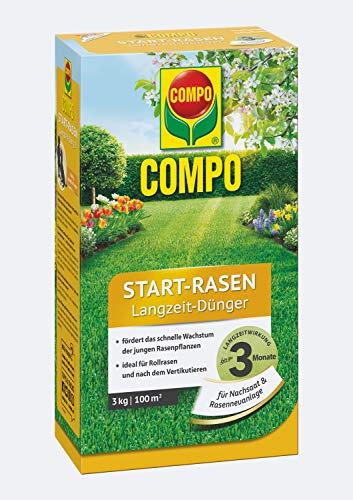COMPO Start-Rasen Langzeit-Dünger, Für junge Rasenpflanzen und für Rollrasen nach dem Vertikutieren, 3 kg