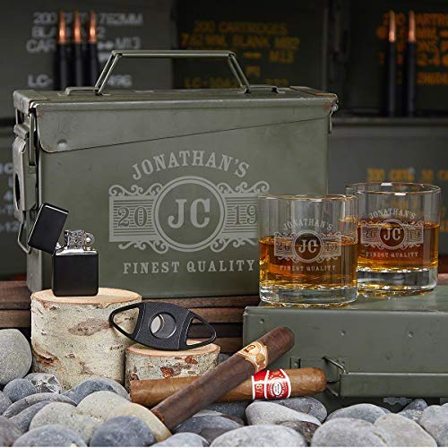 All the Vices Custom Marquee Gift Set for Men in Ammo Can (Personalized Product)