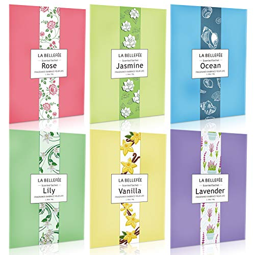 LA BELLEFÉE Scented Sachets, Home Fragrance Sachets, Scented Bags for Drawer Closets, Wardrobes and Bedrooms, Car Scents, Ideal Gift Rose, Ocean, Vanilla, Lavender, Jasmine ,Lily 1.06oz X 6pcs
