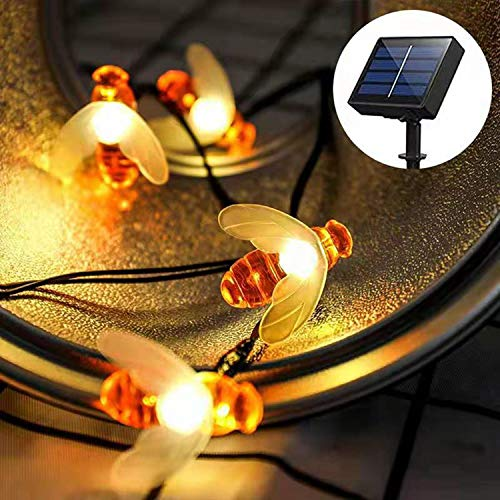 CHANG Solar String Lights, 8 Modes 50 LED Honey Bee Fairy Lights Solar Powered Waterproof Outdoor String Lights for Garden Patio Yard Summer Party Wedding Indoor Bedroom Decor (Warm White)
