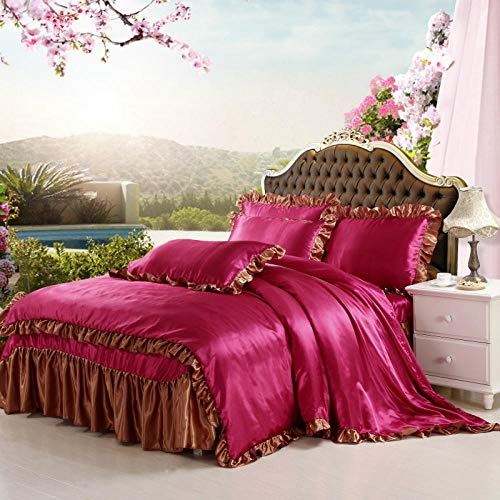double bedding duvet set-Summer simulation silk water washing ice silk screen single four-piece set-Di_1.8M bed (4 pieces)