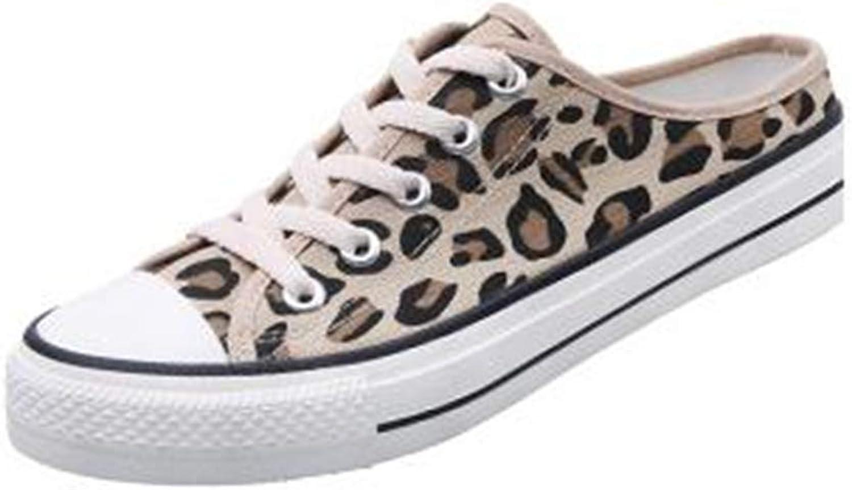 Women Leopard Print Low Heels Mules Slip On Flats Loafers Backless Slipper shoes