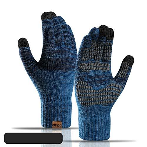 Frauen Männer Gestrickte Winterhandschuhe Gestrickte Frauen Herbst Winter Warme Dicke Handschuhe Touchscreen-Skihandschuhe-Lake Blue-One Size