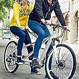 WANYE Bicicleta Tándem Beach Cruiser para Adultos, Ruedas De 26 Pulgadas, Velocidades Simples a 21 White-21 Speed